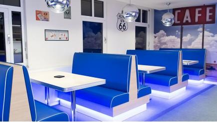 Een deel van de moderne tweede Tech.Lounge in Antwerpen